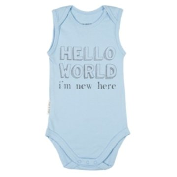 Frogs and Dogs Romper hello world blue