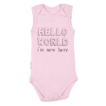 Frogs and Dogs Romper hello world pink