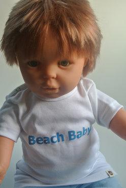 tshirt beach baby wit/blauw