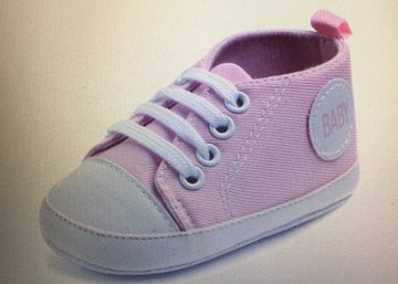 canvas babyschoentje licht roze