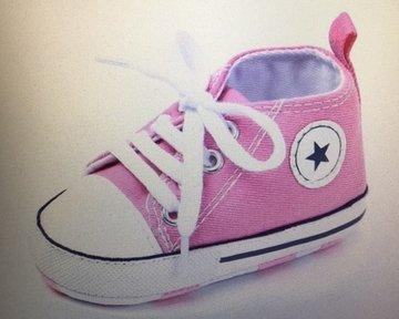 canvas babyschoentje pink