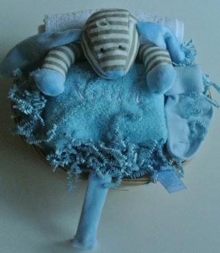 Kraamcadeau speendoek hond blauw
