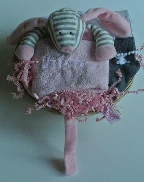 Kraamcadeau speendoek hond roze