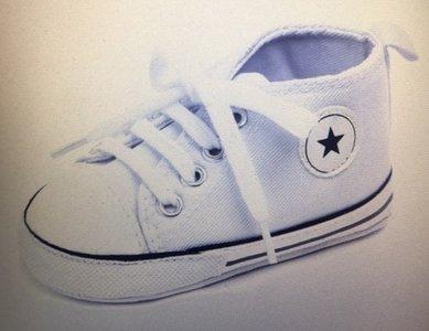 canvas babyschoentje wit ster